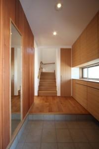 H251月納入カーザミカワ・愛知県I邸ホワイトオークムク巾ハギ階段・天板@紅谷